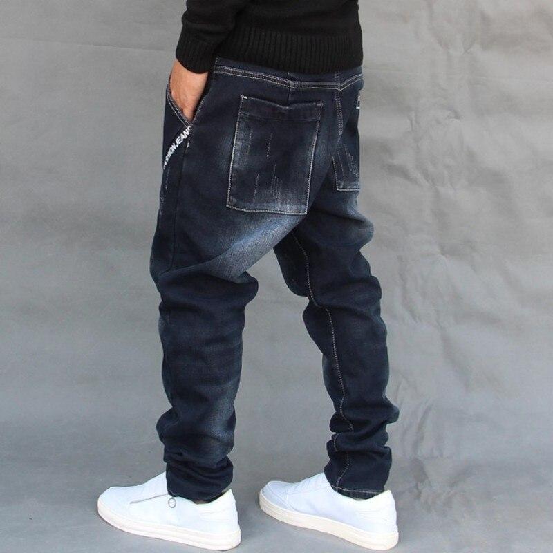 Plus Size 42 Mens Drop Crotch Harem Pants Baggy Jeans Skateboard Denim Cross Pants High Street Casual Cowboy Long Trousers Jeans