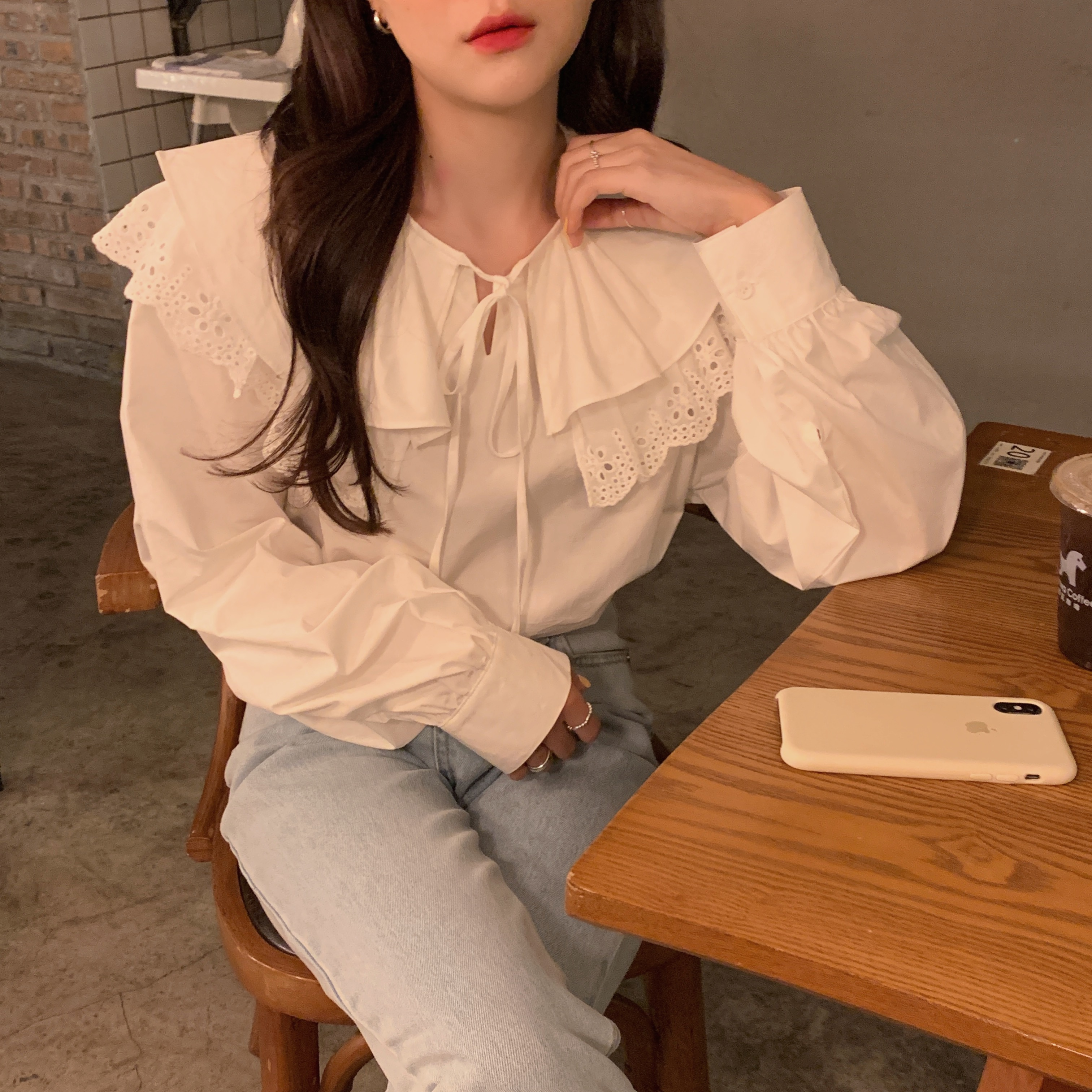 Ha3b12597d0ee446798e2225d48e01cf9M - Spring / Autumn Korean Lace-Up Hollow Out Collar Long Sleeves Loose Solid Blouse