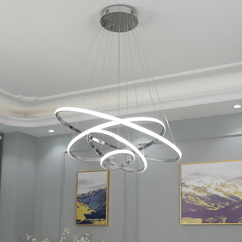 Chrome Plated 4 3 2 Rings Modern LED Chandelier for dinningroom livingroom hanging nordic lamp led Lustre Pendant Chandelier
