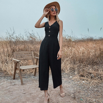 Button Wide Legs Sexy Jumpsuit Women Sleeveless 2021 Summer Casual Party Elegant Office Ladies Swallowtail Long Jumpsuits New