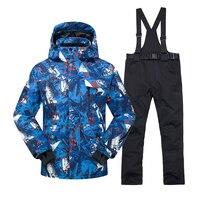 2020 New Hot Printed Ski Suit Men Waterproof Skiing Snowboard Jacket Clothing skiingOutdoor Winter Snow Coats