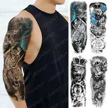 Large Arm Sleeve Tattoo Lion Tiger Rose King Waterproof Temporary Tatto Sticker Wolf Crown Body Art Full Fake Tatoo Women Men(China)