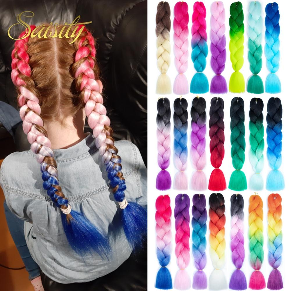 Saisity Braiding Hair Jumbo Braids Hair Extension Synthetic Ombre Hair Extensions 100g/pack 24inch Black