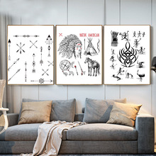 3 Panels Native Indians Canvas Painting Poster Black And White Print Wall Art Pictures For Living Room Home Decor