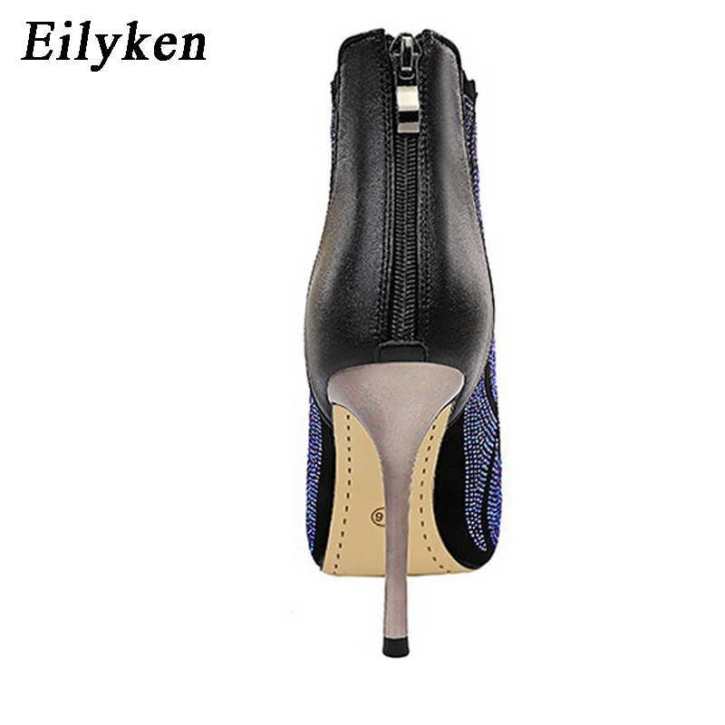 EilyKne 2020 kış siyah ince yüksek topuklu kadınlar Bling yarım çizmeler moda taklidi sivri burun Zip patik gece kulübü ayakkabı