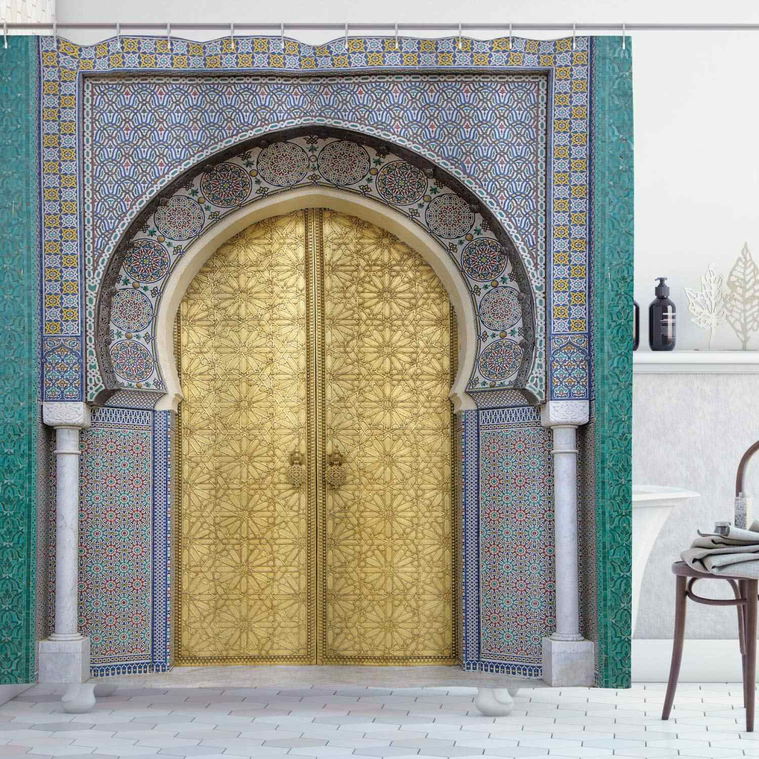 moroccan shower curtain antique doors morocco yellow doorknob ornamental carved intricate bathroom curtains decor set
