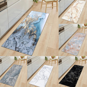 Rectangle Europe White Marble Carpets Water Absorption Long Kitchen Mats Wrinkle-resistant Floor Mats Stone Pattern Bathroom Rug