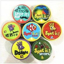 Dobbles Spot It Cards Hip 7 английская версия настольные игры высокое качество олово оригинальное издание животные металлическая коробка Go Кемпинг спорт