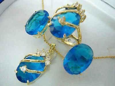 חם למכור חדש-תכשיטי כחול ירקן תליון שרשרת עגיל טבעת סט>> 18K GP מצופה זהב כלה רחב שעון כנפי מלכת JEWE (