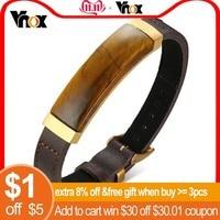 Vnox Vintage Tiger's Eye Charm Bracelets for Men with Genuine Leather Strap pulseira masculina 17.5 22cm