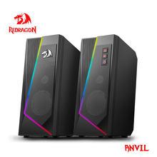 Redragon GS520 Anvil aux 3.5mm estéreo de música envolvente altavoces RGB barra de sonido para computadora 2.0 PC Home Notebook TV Altavoces