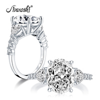 AINUOSHI 925 Sterling Silver 5 Carat Oval Cut Engagement Ring 3 Stone Ring Simulated Diamond Wedding Silver Ring Jewelry