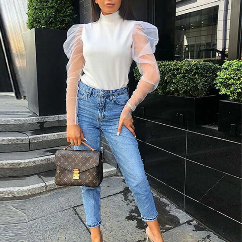 New Fashion Women Girls Mesh Sheer Long Puff Sleeve Blouse Ladies Turtle Neck See Through Top Shirt Blouse White Black Blusas