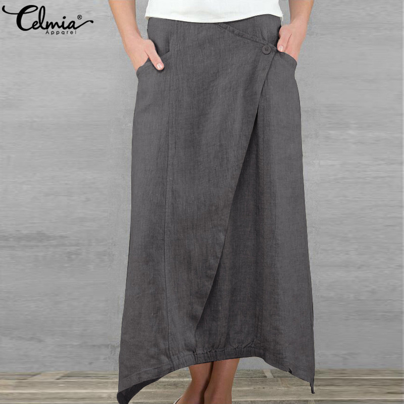 Celmia Plus Size Women Maxi Long Skirts 2020 Summer Vintage High Waist Asymmetrical Loose Skirt Casual Long Pleated Beach Skirt