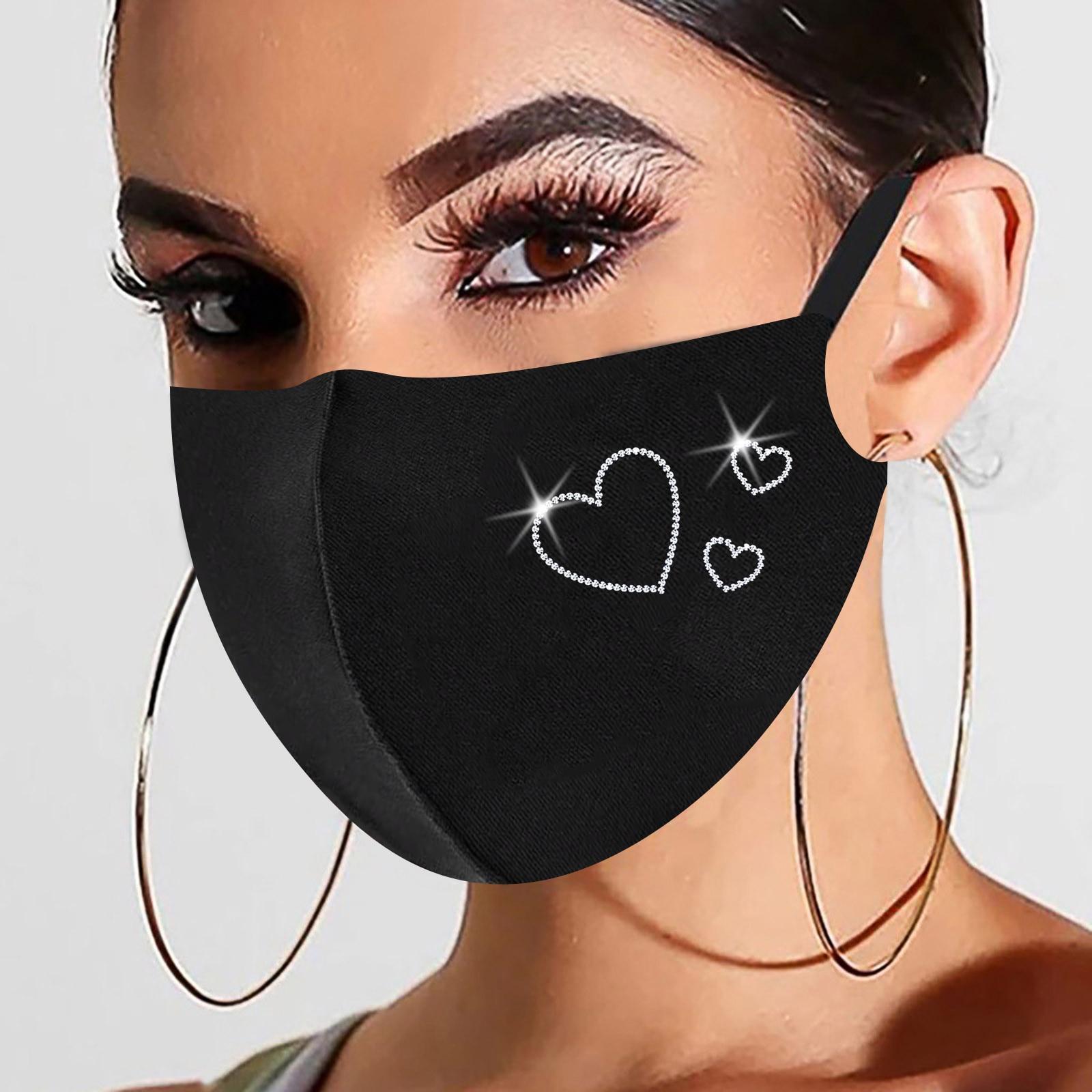 1pc Preto Máscara de Natal Para As Mulheres Na Moda Hot Diamante Impressão de Algodão Máscara Máscaras Маски От Вирусов Dropshipping 6