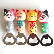 Фото - New Cute Cartoon Cat Wooden Beer Bottle Opener Stainless steel Portable Fridge Magnetic Bottle Openers Kitchen Tools Gadgets portable cute cat screwdriver keychain multifunction outdoor zinc alloy bottle opener kitchen gadget beer tools