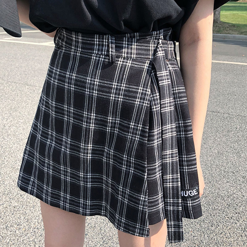 2019 New Spring Autumn Women Vintage Harajuku Classic Plaid Mini Skirt Sweet High Waisted Skirt Yy39