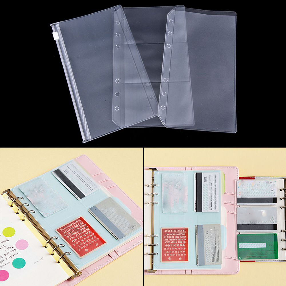 A5/A6 Transparent Zip Lock Envelope Binder Pocket Refill Organization Stationery  School Office Supply File Folder Accessories
