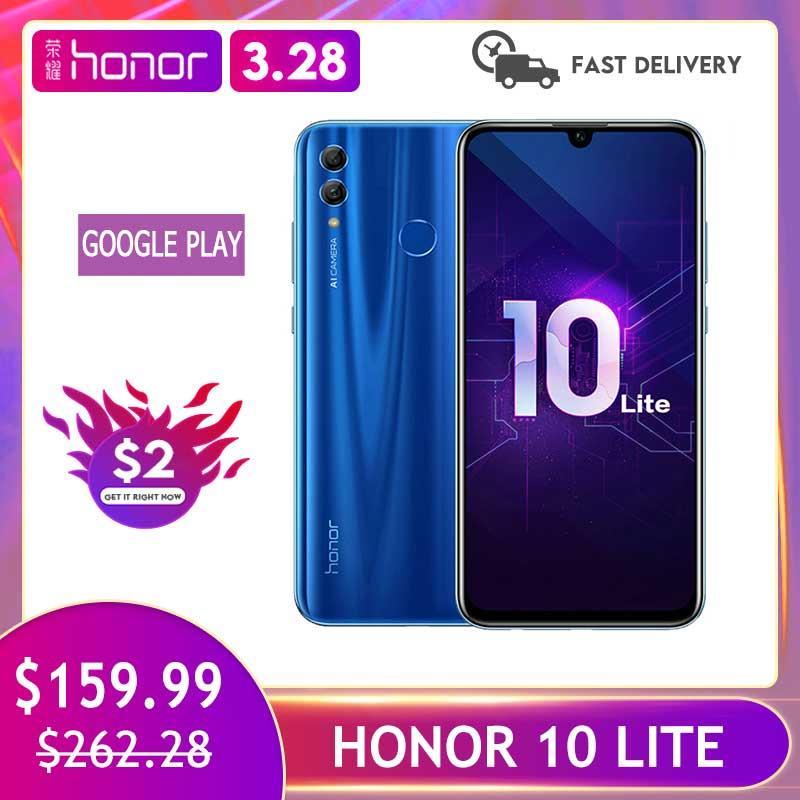 Honor 10 Lite 3GB 128GB wersja globalna Smartphone 6.2 cala 3400mAh Android 9 24MP aparat telefon komórkowy Google Play aktualizacja OTA