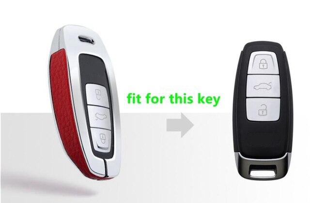عالية الجودة سبائك المجلفن الجلود حقيبة غطاء للمفاتيح حامل لأودي A8 A7 A6 C8 Q8 2018 2019 الذكية فوب مفتاح حماية قذيفة