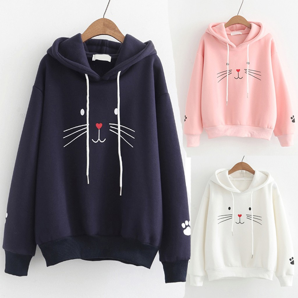 Fluffy Hoodie Fashion Women Top Cat Printing Shirt Sweatshirt Loose Blouse Autumn Coat Women Hoodies Sweatshirts Off White