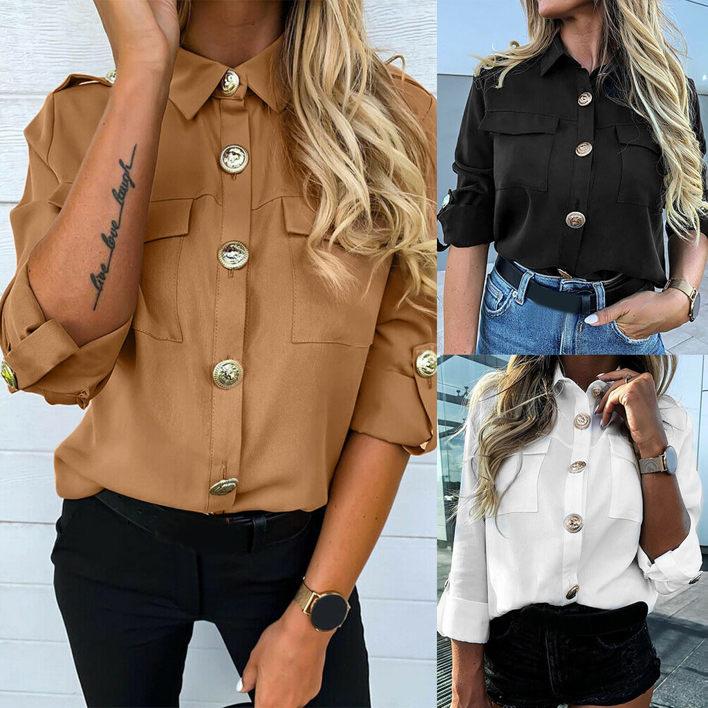 Blouse Tops Buttons Shirt Ladies Vadim Long-Sleeve Office-Work Plain Ol Casual Women title=