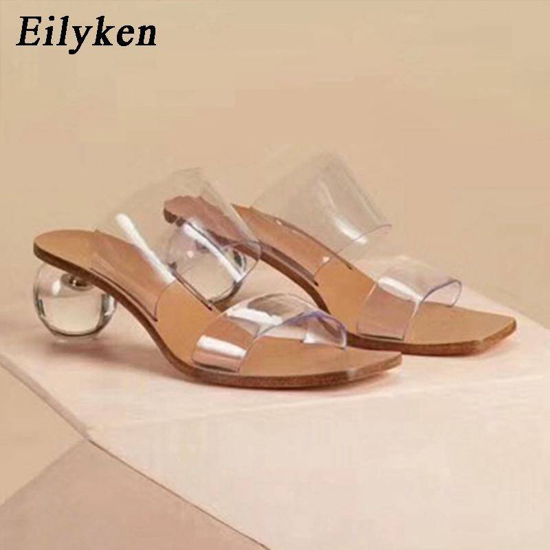 Eilyken 2020New Women Slipper Summer Crystal Heel Women Beach Slippers Transparent PVC Sandals Square Toe Slides Size 41 42 43