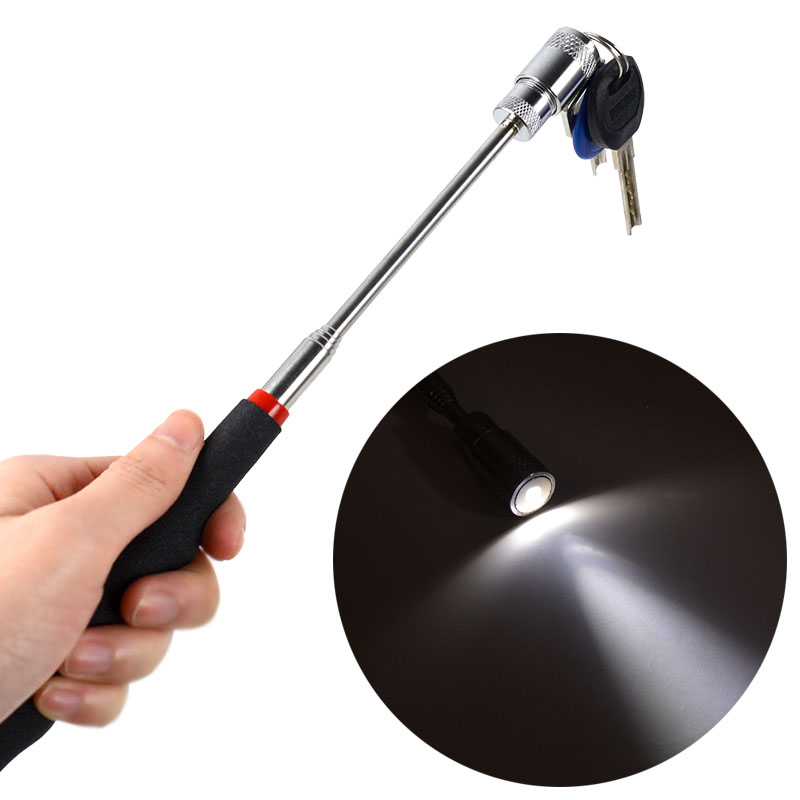 19-69CM Strong Magnetic Pick Up Stick Telescopic Extension Suction Rod Magnet Pen For Metal Picker Gap Cleaning LED Pick Up Tool