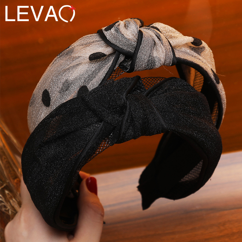Levao New Women's Dot Print Headband Lace Cross Knotted Hairband Head Band Wide-Black Bezel Hair Hoop Band Hair Accessories