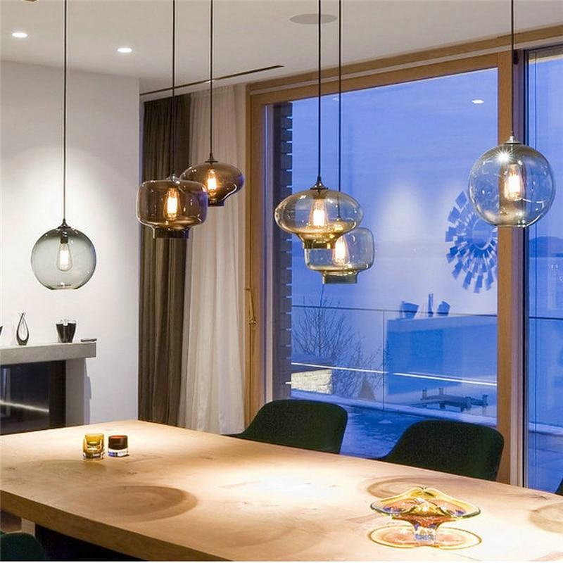 Nordic LED Pendant Lamps Color Glass Lights Bedroom Restaurant Droplight Hanging Lamp Kitchen Fixtures