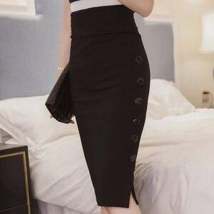Image 2 - Plus Size 2020 Fashion Women Work Midi Skirt OL Sexy Open Slit Button Slim Pencil Skirt Elegant Office Ladies Skirts Red Black