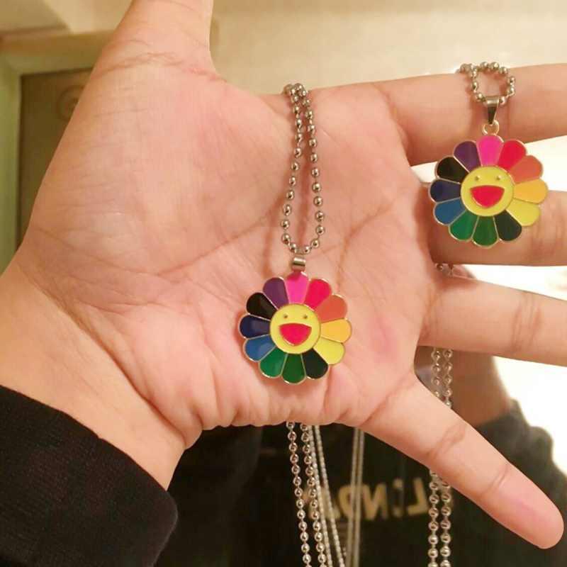 2019 nowych moda proste klasyczne Murakami słonecznik słonecznik kolorowe płatki buźka może być obracany Hip Hop naszyjnik