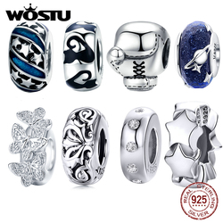 WOSTU 100% 925 Sterling Silver Sports Boxing Metal Beads Fit Original WST Charm Bracelet Fashion DIY Jewelry DYC105