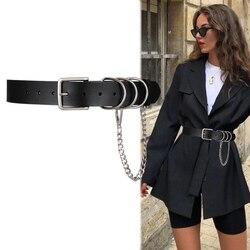 Cinturón Punk con cadena y hebilla plateada para mujer, cinturón de cuero PU ancho para pantalones vaqueros, pretina femenina informal negra