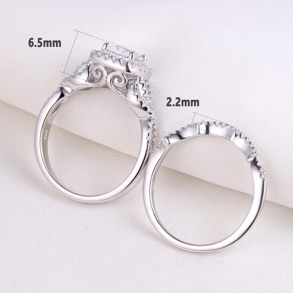 2Women's 2 Pcs 925 Sterling Silver Engagement/Wedding Ring Princess Cut White Cubic Zirconia