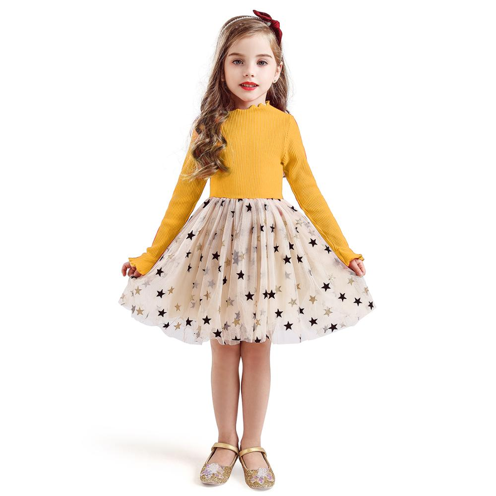Kid Dresses For Girls Long Sleeve Girl Dress Sequin Star Children Dress Casual Dress Kid Dress Girl Party Wear Clothing Vestidos 5