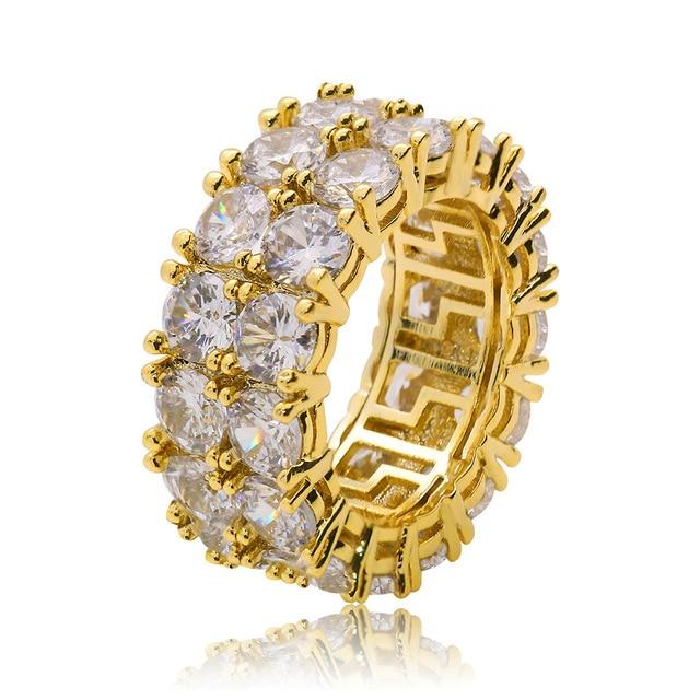 Фото кольца женские и мужские с большим цирконом золотистые/серебристые