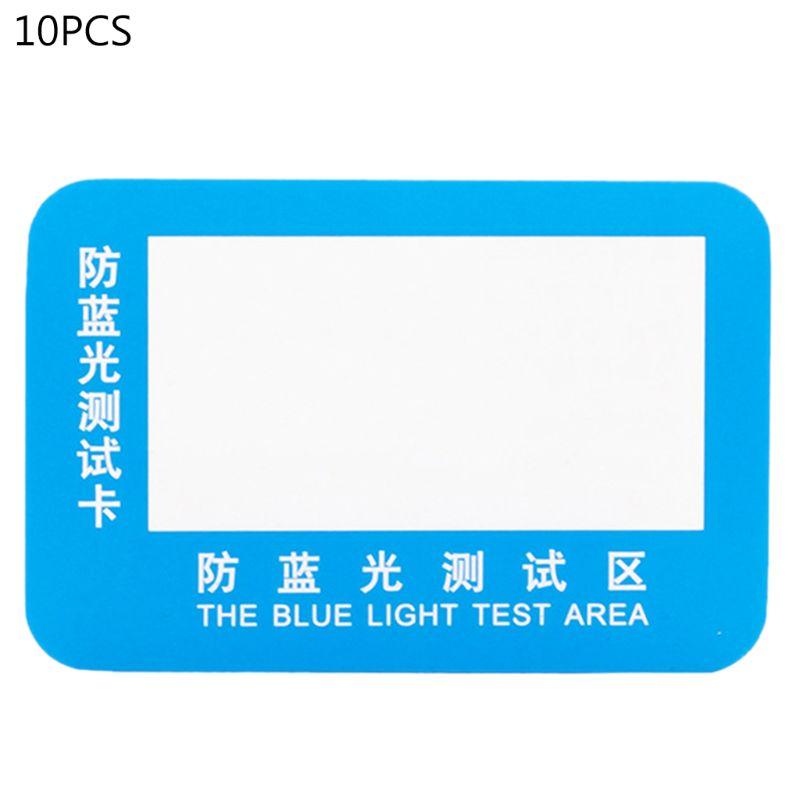 OOTDTY 10pcs PVC Anti-Blue Light Test Card Test Light Glasses UV Test Accessories Card Blue Light Detection Card Generator Card