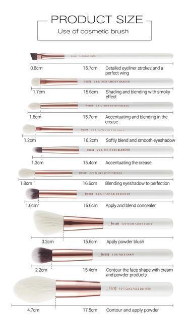 Jessup Makeup Brush Hair Foundation Powder Definer Shader Liner 10pcs Pearl White / Rose Gold Kисти для Mакияжа 6