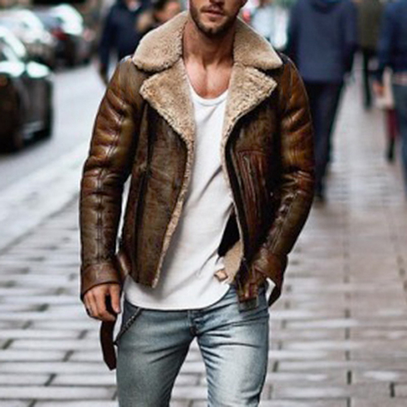 Sfit 2020 Mens Leather Jackets  Motorcycle Jacket PU Business Thick Warm Fur Collar Winter Faux Biker Coats Windproof