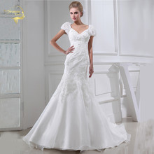 Jeanne Love New Design Wedding Dresses 2017 Casamento Bridal Gown Short Sleeves V Robe De Mariage Vestido Novia JLOV75914