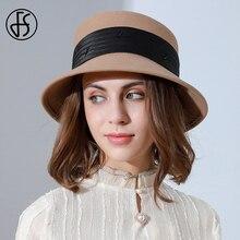 FS British Fashion Wool Felt Flat-top Fedora Hats For Women Autumn Winter Church Cloche Derby Hat Fedoras Bowler Cap With Ribbon