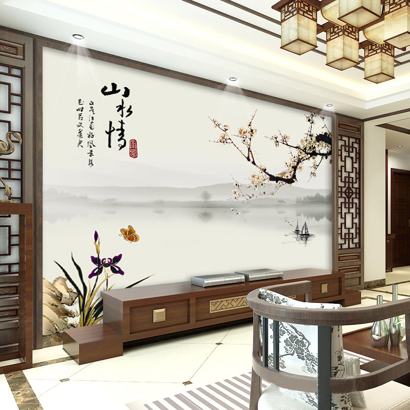 Aoxue Plum Blossom Wallpaper Mural Ink Love For Nature Television Film And Television Wall Cloth Modern New Chinese Style Wallpa