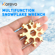 Spanner Hex Wrench Portable 18 In 1 Mini Snowflake Multi Pocket Tool Beer Bottle Opener Survive Outdoor Hike Key Ring Key Chain