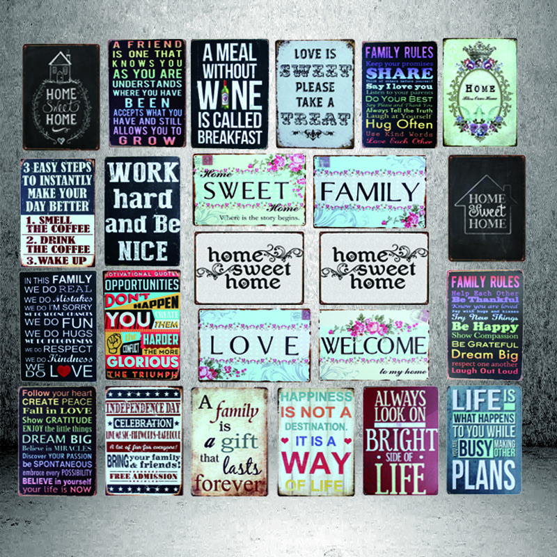 Home Sweet Home Vintage Tin Sign Wall Pub Welcome Sign in Home Deco Metal Poster Cuadros 8419A