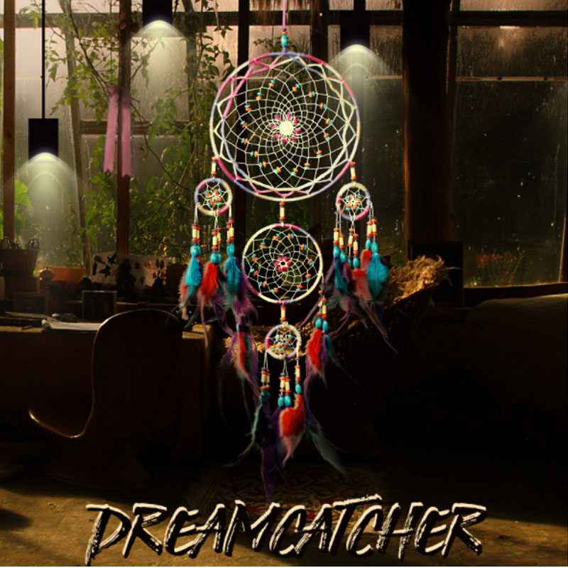 High Quality Multicolored Feather Crafts Dream Catcher Wind Chimes Handmade Indian Dreamcatcher Net for Wall Hanging Room Decor