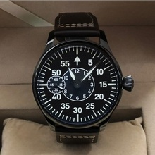 Sapphire crystal or Mineral glass 44mm black dial Asian 6497 17 jewels movement PVD case luminous