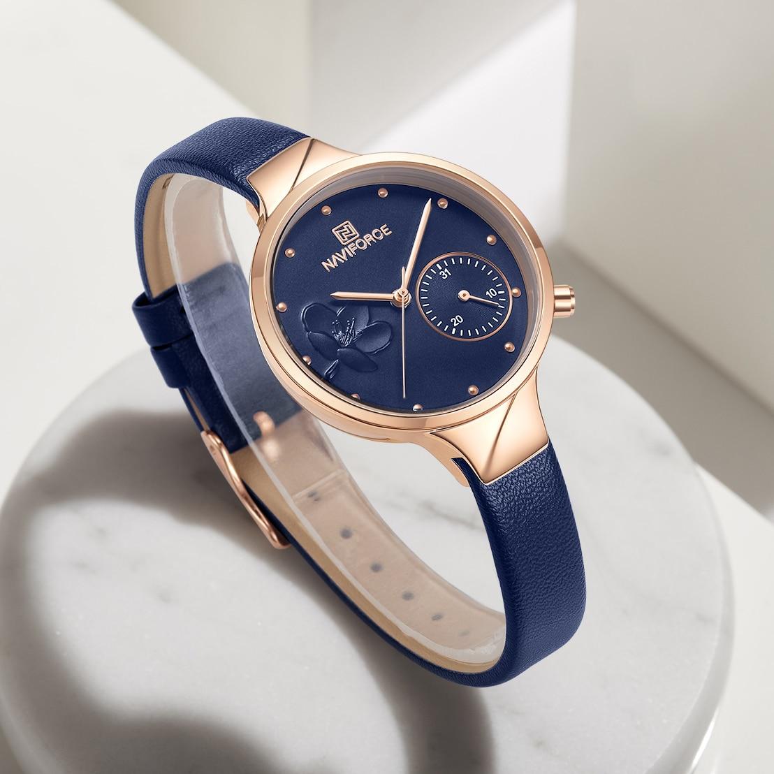 Image 4 - NAVIFORCE Women Watches Luxury Brand Fashion Quartz Ladies Rhinestone Watch Dress Waterproof Watch Simple Clock Relogio FemininoWomens Watches   -
