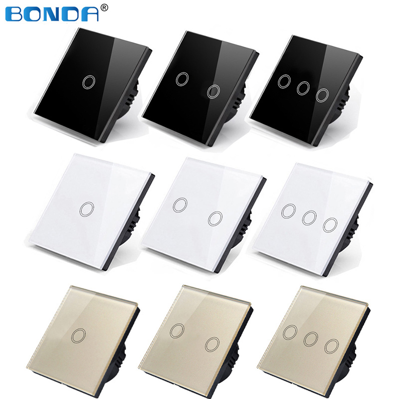 BONDA Touch Switch EU/UK standard White Crystal Glass Panel Touch Switch, AC220V,1 Gang 1 Way, EU Light Wall Touch Screen Switch