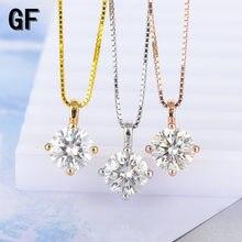 Genuíno 18k branco amarelo rosa ouro 1ct moissanite pingente d cor vvs1 laboratório diamante excelente corte para mulher com certificado
